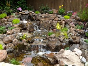 Mature planting around this Pondless™ Waterfall